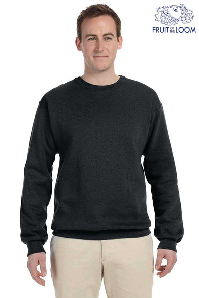 Fruit Of The Loom 82300 Black Supercotton Fleece Crewneck Sweatshirt Front