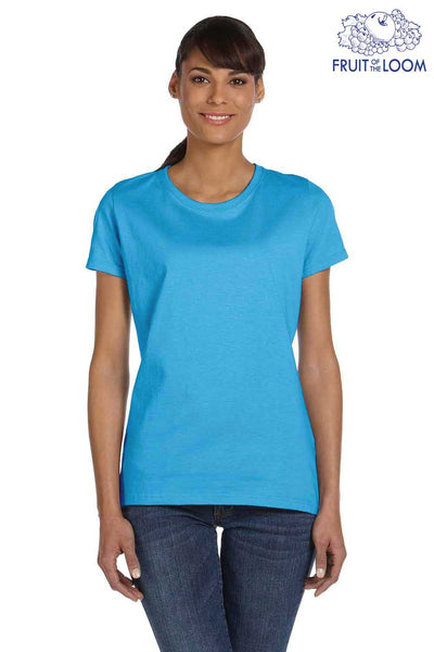 Fruit Of The Loom L3930R Aquatic Blue HD Cotton Short Sleeve Crewneck T-Shirt Front