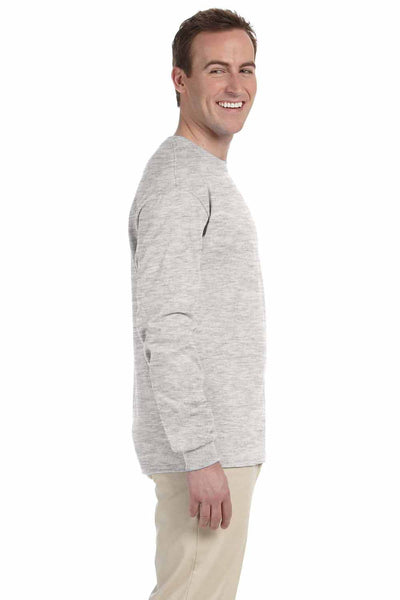 Fruit Of The Loom 4930 Ash Grey HD Cotton Long Sleeve Crewneck T-Shirt Side