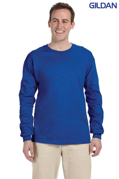 Gildan G240 Royal Blue Ultra Cotton Long Sleeve Crewneck T-Shirt Front
