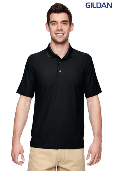 Gildan G458 Black Performance Polyester Double Pique Short Sleeve Polo Shirt Front
