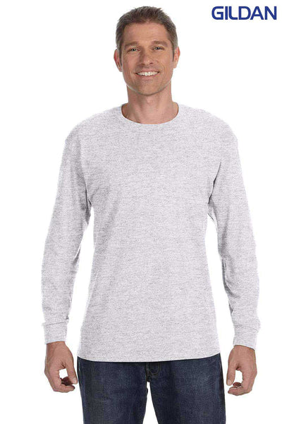 Gildan G540 Ash Grey Cotton Long Sleeve Crewneck T-Shirt Front