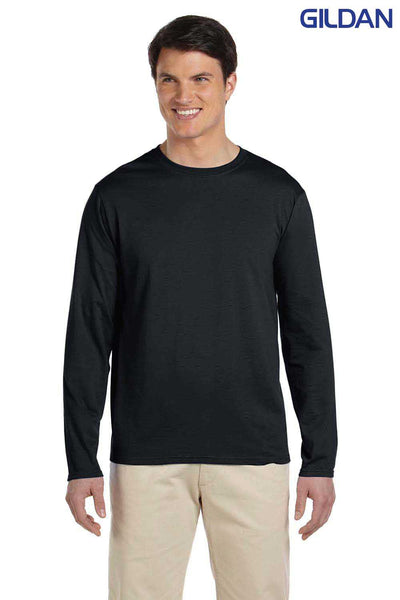 Gildan G644 Black SoftStyle Cotton Long Sleeve Crewneck T-Shirt Front