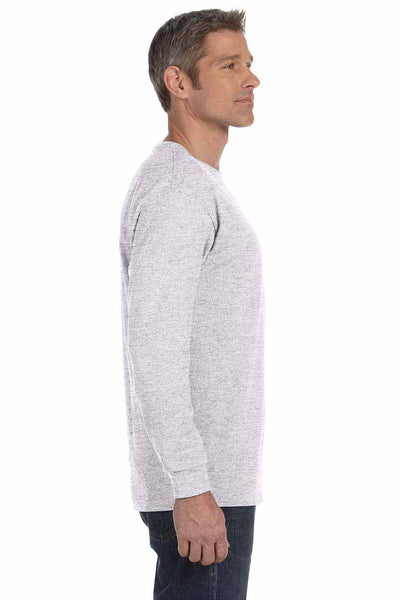 Gildan G540 Ash Grey Cotton Long Sleeve Crewneck T-Shirt Side