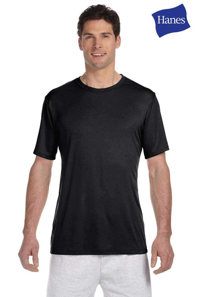 Hanes 4820 Black Cool Dri FreshIQ Performance Polyester Short Sleeve Crewneck T-Shirt Front