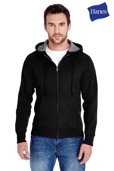 Hanes N280 Black Nano Blend Hooded Sweatshirt Hoodie Front