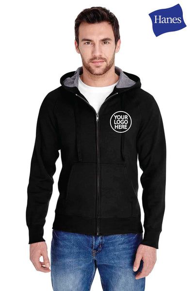 Hanes N280 Black Nano Blend Hooded Sweatshirt Hoodie Embroidery