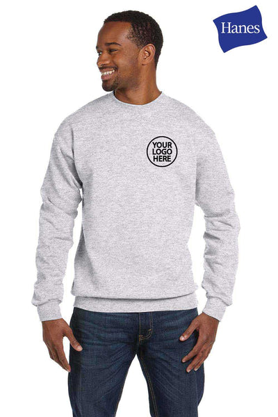 Hanes P1607 Ash Grey EcoSmart Fleece Crewneck Sweatshirt Embroidery
