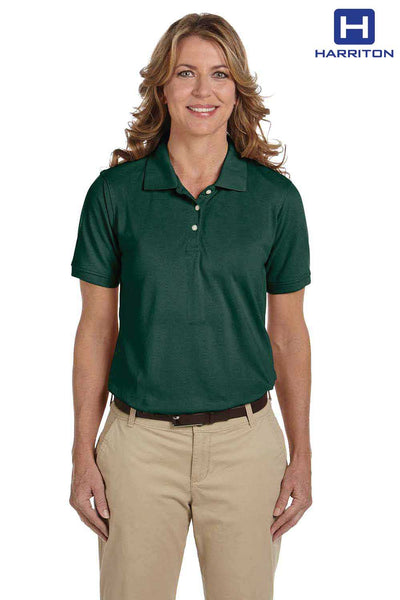 Harriton M265W Hunter Green Easy Blend Short Sleeve Polo Shirt Front