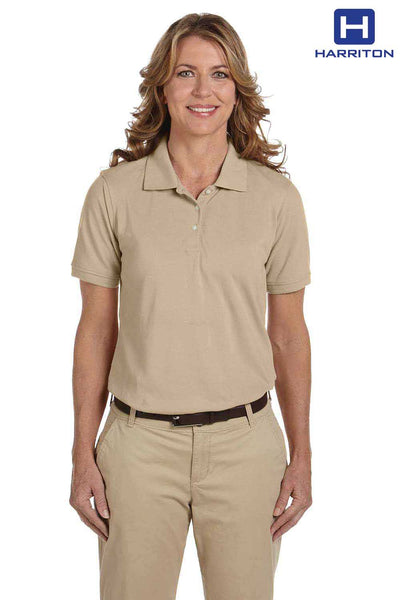 Harriton M265W Stone Brown Easy Blend Short Sleeve Polo Shirt Front