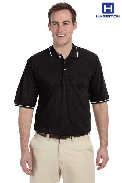 Harriton M270 Black Easy Blend Tipped Short Sleeve Polo Shirt Front