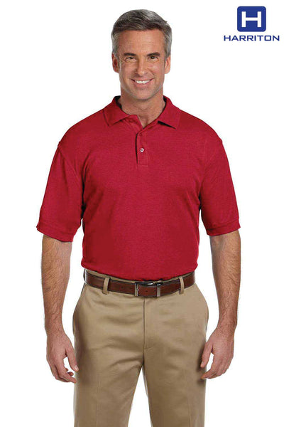 Harriton M280 Red Blend-Tek Short Sleeve Polo Shirt Front