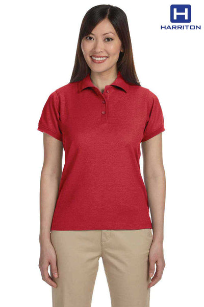 Harriton M280W Red Blend-Tek Short Sleeve Polo Shirt Front