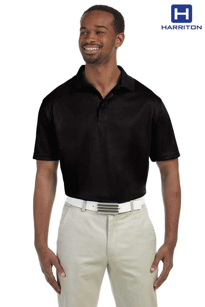 Harriton M315 Black Polytech Polyester Short Sleeve Polo Shirt Front