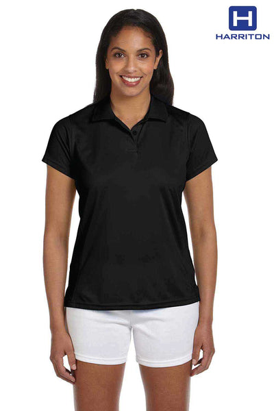 Harriton M315W Black Polytech Polyester Short Sleeve Polo Shirt Front