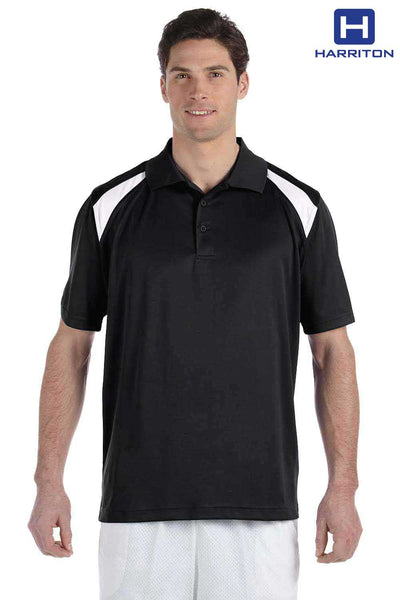 Harriton M318 Black/White Polytech Polyester Colorblock Short Sleeve Polo Shirt Front