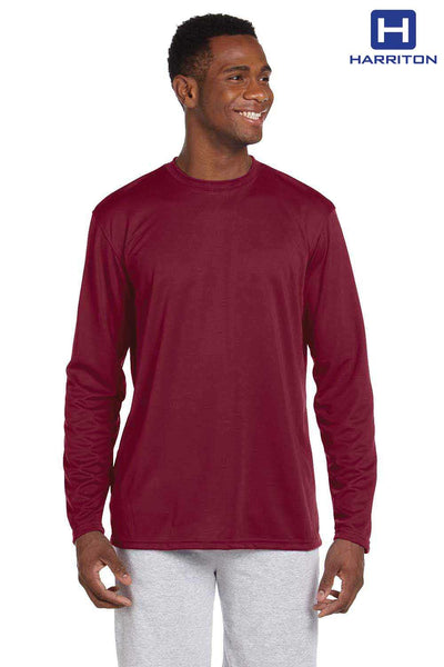 Harriton M320L Maroon Athletic Sport Polyester Long Sleeve Crewneck T-Shirt Front