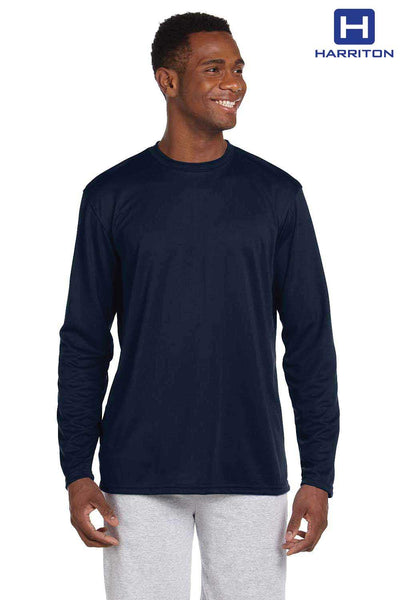 Harriton M320L Navy Blue Athletic Sport Polyester Long Sleeve Crewneck T-Shirt Front