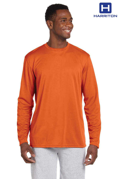 Harriton M320L Orange Athletic Sport Polyester Long Sleeve Crewneck T-Shirt Front