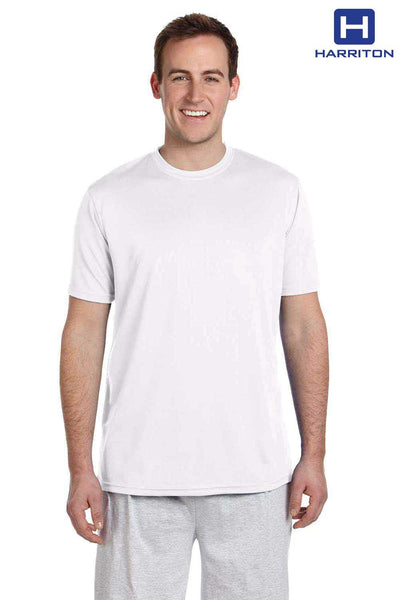 Harriton M320 White Athletic Sport Polyester Short Sleeve Crewneck T-Shirt Front