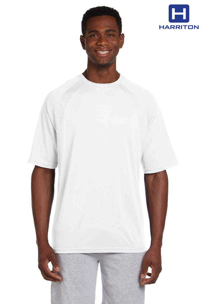 Harriton M322 White Athletic Sport Polyester Colorblock Short Sleeve Crewneck T-Shirt Front