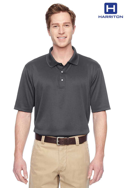 Harriton M345 Charcoal Grey Advantage IL Performance Polyester Short Sleeve Polo Shirt Front
