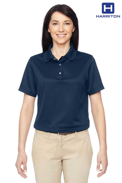 Harriton M345W Navy Blue Advantage IL Performance Polyester Short Sleeve Polo Shirt Front