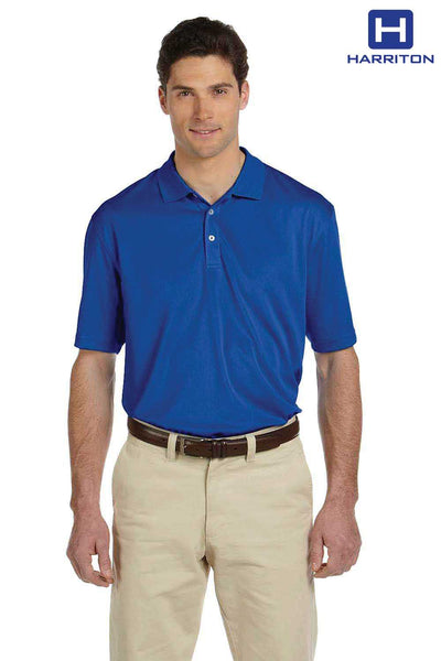 Harriton M353 Royal Blue Double Mesh Polyester Short Sleeve Polo Shirt Front
