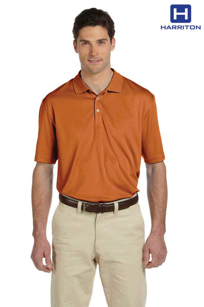 Harriton M353 Texas Orange Double Mesh Polyester Short Sleeve Polo Shirt Front