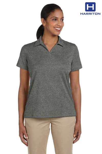 Harriton M353W Charcoal Grey Double Mesh Polyester Short Sleeve Polo Shirt Front