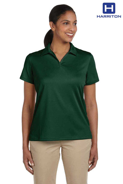Harriton M353W Dark Green Double Mesh Polyester Short Sleeve Polo Shirt Front