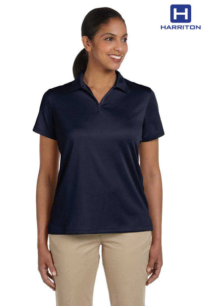 Harriton M353W Navy Blue Double Mesh Polyester Short Sleeve Polo Shirt Front