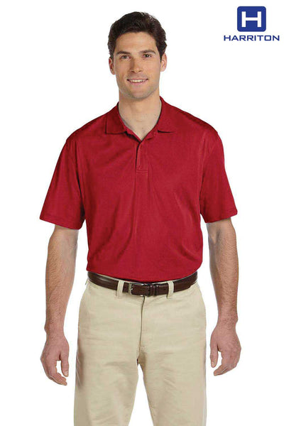 Harriton M354 Red Micro Pique Polyester Short Sleeve Polo Shirt Front