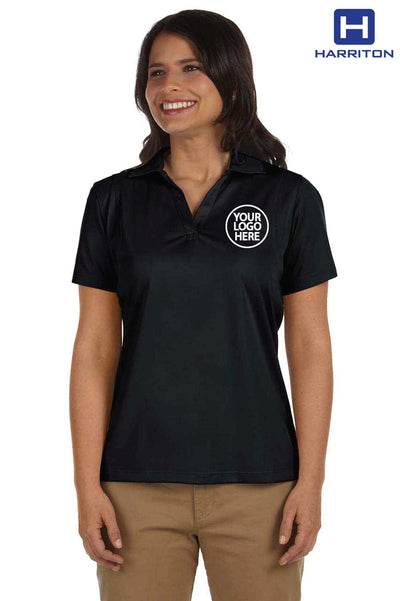 Harriton M354W Black Micro Pique Polyester Short Sleeve Polo Shirt Logo