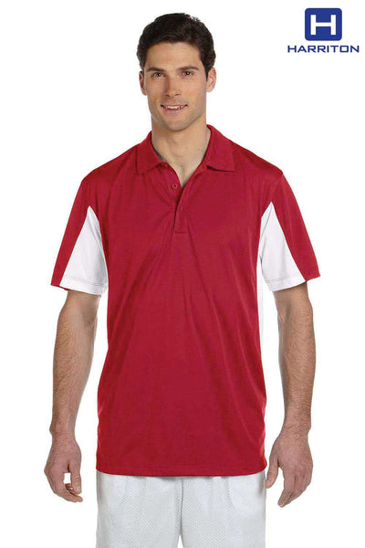 Harriton M355 Red/White Micro Pique Polyester Colorblock Short Sleeve Polo Shirt Front