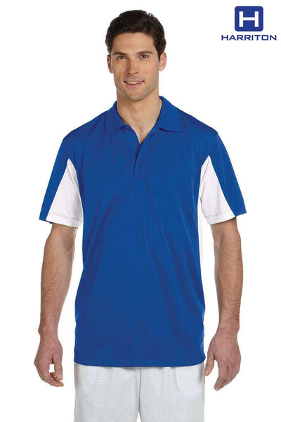 Harriton M355 Royal Blue/White Micro Pique Polyester Colorblock Short Sleeve Polo Shirt Front