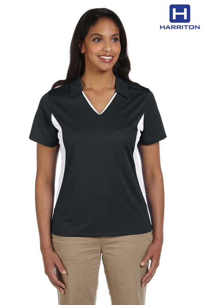 Harriton M355W Black/White Micro Pique Polyester Colorblock Short Sleeve Polo Shirt Front