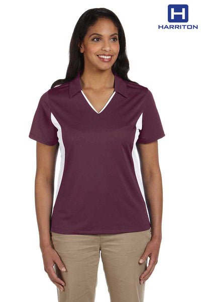 Harriton M355W Maroon/White Micro Pique Polyester Colorblock Short Sleeve Polo Shirt Front
