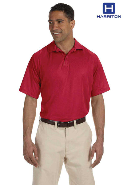 Harriton M374 Red Polytech Polyester Mesh Insert Short Sleeve Polo Shirt Front