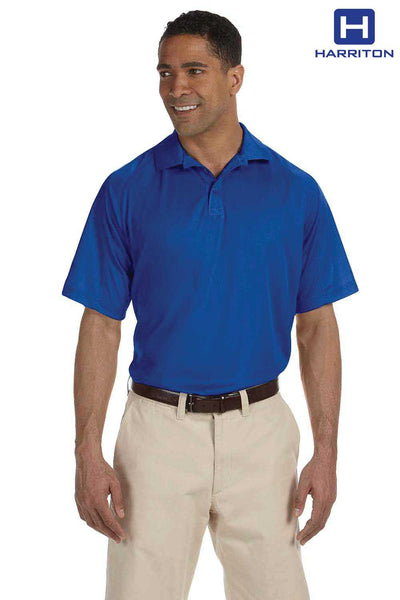 Harriton M374 Royal Blue Polytech Polyester Mesh Insert Short Sleeve Polo Shirt Front