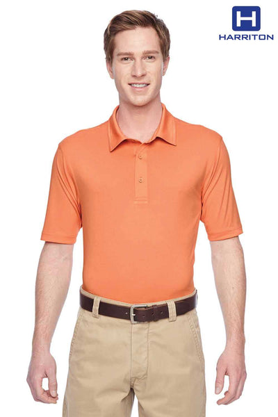 Harriton M410 Nectarine Orange Cayman Performance Polyester Short Sleeve Polo Shirt Front