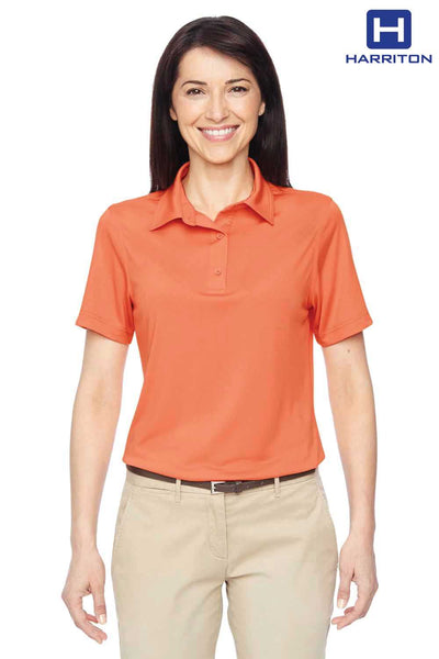 Harriton M410W Nectarine Orange Cayman Performance Polyester Short Sleeve Polo Shirt Front
