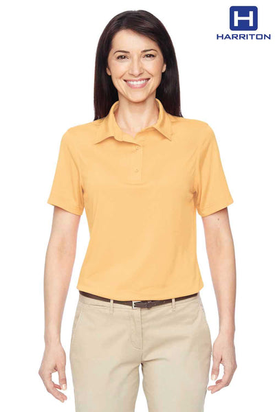 Harriton M410W Pineapple Yellow Cayman Performance Polyester Short Sleeve Polo Shirt Front