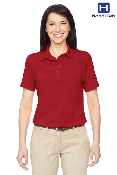 Harriton M410W Red Cayman Performance Polyester Short Sleeve Polo Shirt Front