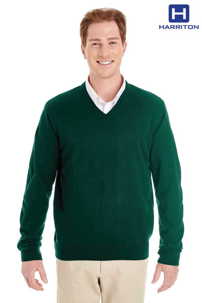 Harriton M420 Hunter Green Pilbloc Acrylic Long Sleeve V-Neck Sweater Front