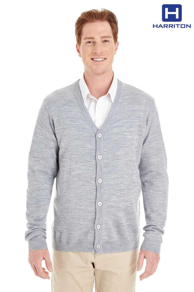 Harriton M425 Heather Grey Pilbloc Acrylic Button Down Long Sleeve Cardigan Sweater Front
