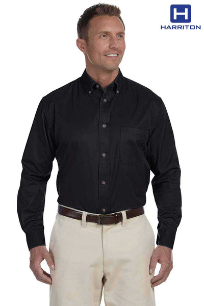 Harriton M500 Black Easy Blend Twill Stain Release Long Sleeve Button Down Shirt Front