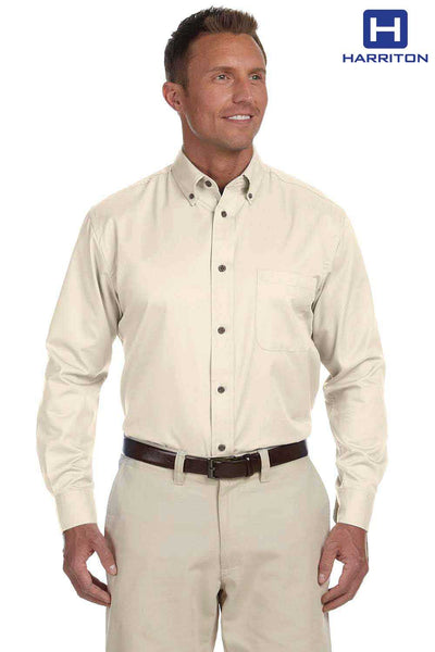 Harriton M500 Cream Easy Blend Twill Stain Release Long Sleeve Button Down Shirt Front