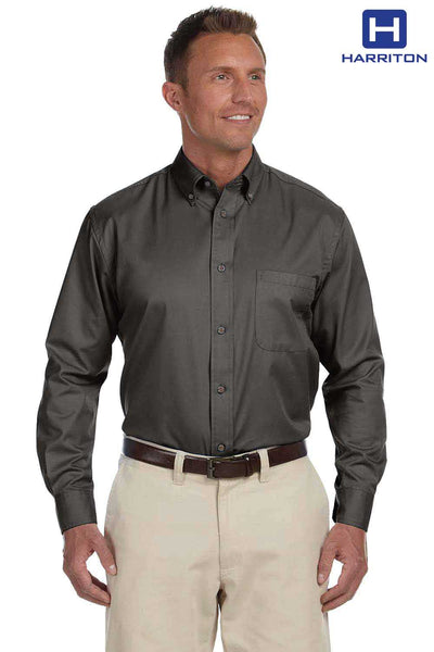 Harriton M500 Dark Grey Easy Blend Twill Stain Release Long Sleeve Button Down Shirt Front