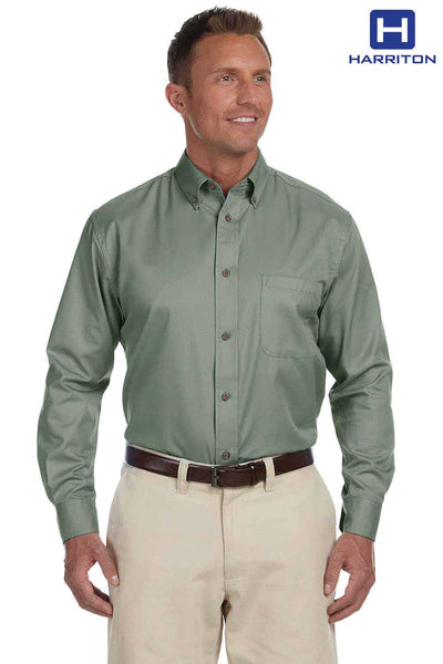 Harriton M500 Dill Green Easy Blend Twill Stain Release Long Sleeve Button Down Shirt Front